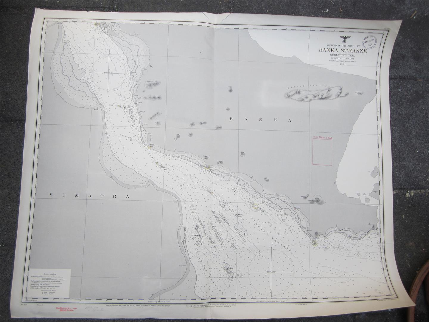 WW2 KM Sea Chart BANKA STRASZE, East Indies